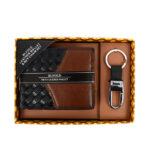 men wallet with keyring set brown